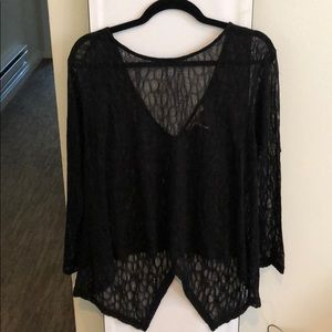 """""""Gothic"""" BCBGeneration sheer black lace top"""